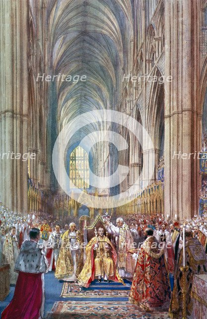 'The Act of Crowning', George VI's coronation ceremony, Westminster Abbey, London, 12 May 1937.Artist: Henry Charles Brewer