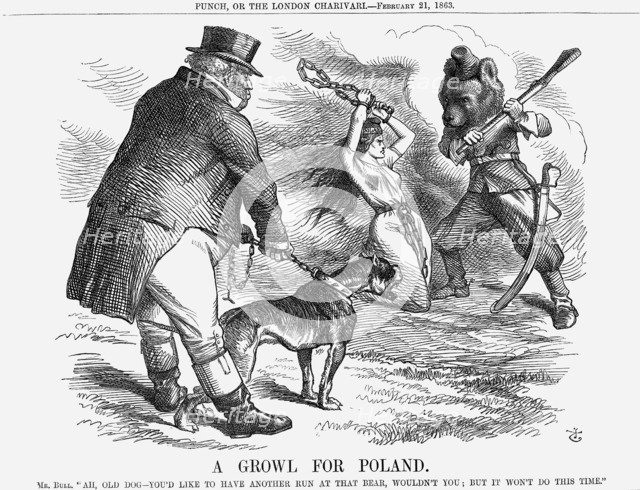 'A Growl for Poland', 1863. Artist: John Tenniel