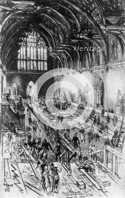 'The Workmen in Possession', Westminster Hall, London, 1910.Artist: Joseph Pennell