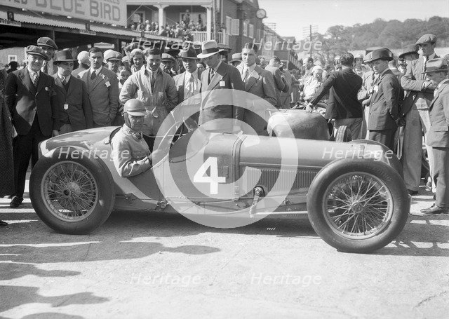 Earl Howe in his Delage at a BARC meeting at Brooklands, 25 May 1931. Artist: Bill Brunell.