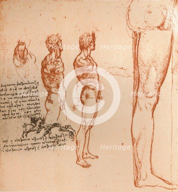 Drawings showing the movements of the human figure and warriors fighting, c1472-c1519 (1883). Artist: Leonardo da Vinci.