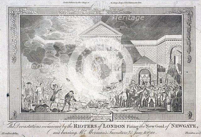 Gordon Riots, Newgate Prison, London, 1780. Artist: Thornton