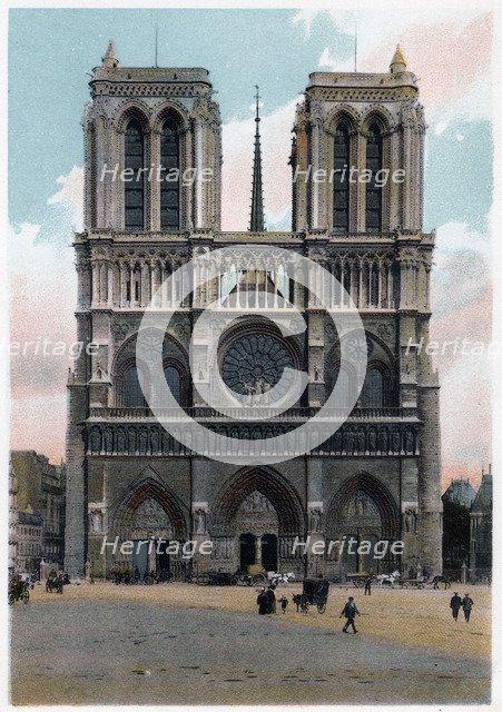 Notre Dame de Paris, Western Façade, c1900. Artist: Unknown