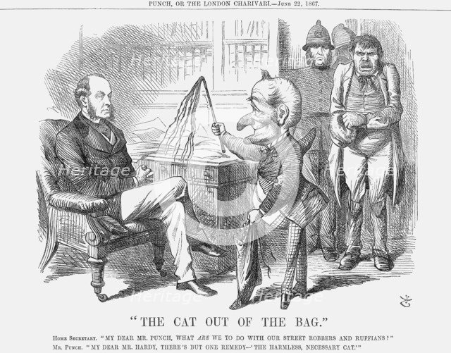 The Cat out of The Bag, 1867. Artist: John Tenniel