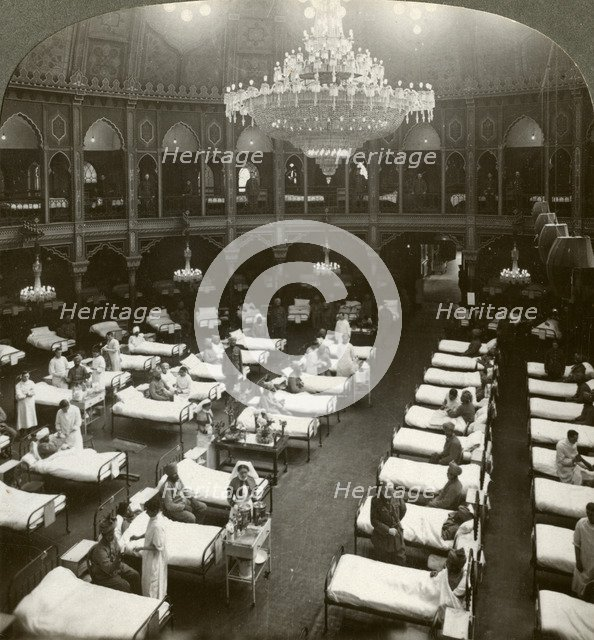 Interior of the commodious hospital at Brighton, Sussex, World War I, 1914-1918.Artist: Realistic Travels Publishers