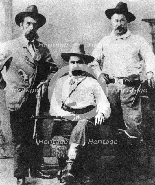 William A Pinkerton, flanked by two express agents, c1870s-1880s (1954). Artist: Unknown