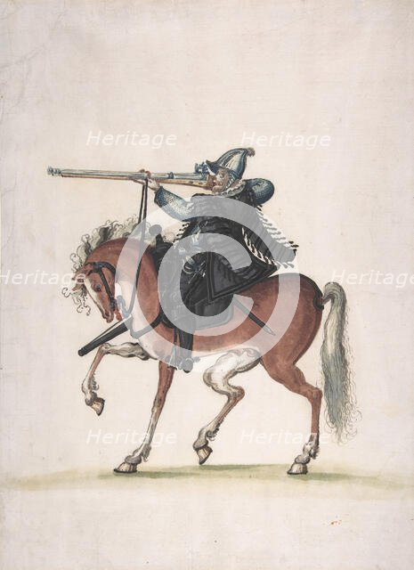 Drawing of a Mounted Arquebusier (Soldier on Horseback), late 16th century. Creator: Unknown.