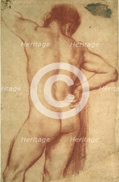 Study of a nude Man, 17th century. Artists: Annibale Carracci, Guercino.