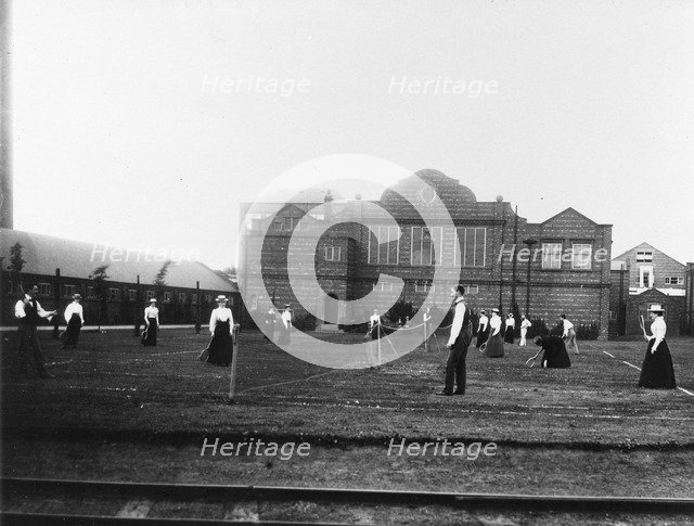 Employees playing tennis, Rowntree Tennis Club, York, Yorkshire, 1900. Artist: Unknown