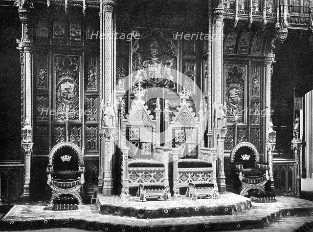 The Royal Throne, House of Lords, Westminster, c1905.Artist: John Benjamin Stone