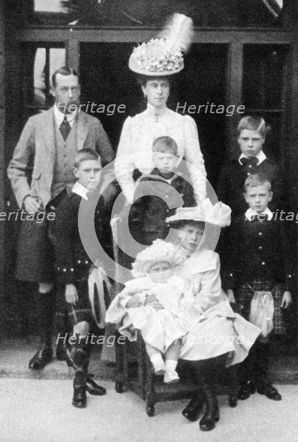 The Prince and Princess of Wales and their children, Abergeldie, Scotland, 1906. Artist: Unknown