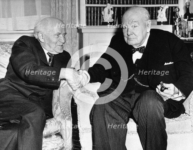 Winston Churchill, former British Prime Minister, withIsraeli Prime Minister David Ben Gurion. Artist: Unknown