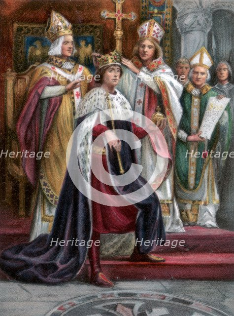 The crowning of Edward I, Westminster, 19 August 1274, (1902). Artist: Unknown