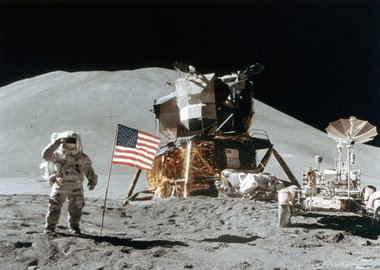 Gallery image of Astronaut James Irwin (1930-1991) gives a salute on the Moon, 1971.Artist: NASA