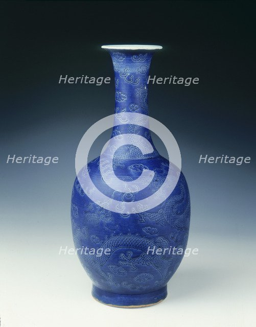 Blue glazed vase with incised dragons, Ming dynasty, China, c1645. Artist: Unknown