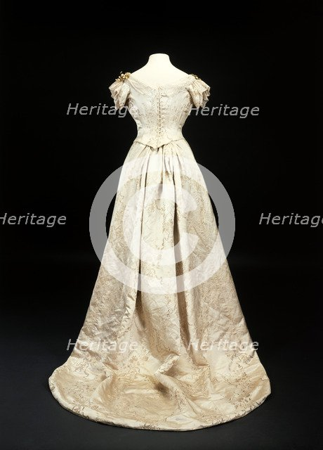 Queen Mary's wedding dress (back view), 1893. Artist: Unknown