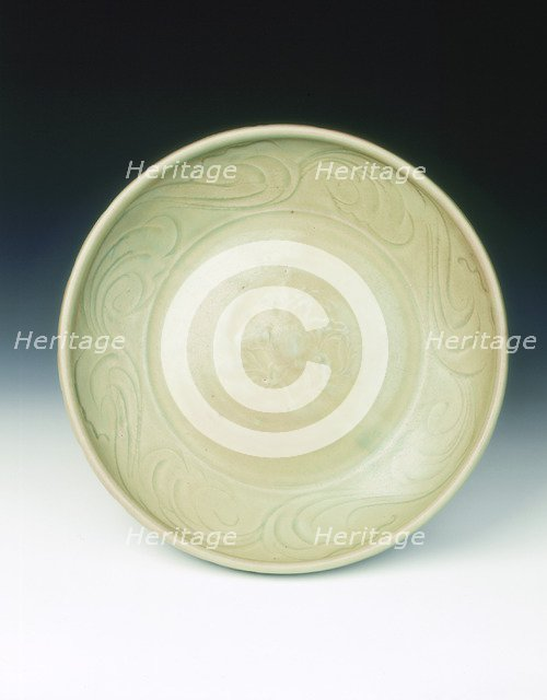 Celadon dish with moulded tree and incised scrolls, Yuan-Ming dynasty, China, 14th century. Artist: Unknown