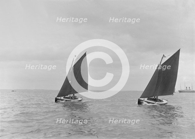 Hamble River Class dinghies racing close-hauled, 1921. Creator: Kirk & Sons of Cowes.