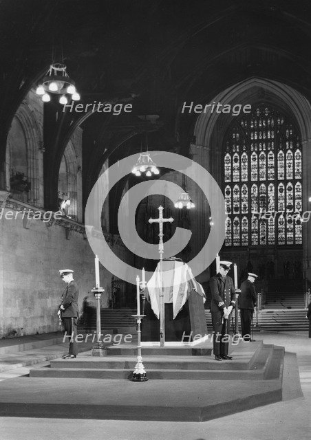 Sir Winston Churchill (1874-1965) lying in state, Westminster Hall, London, 1965. Artist: Unknown