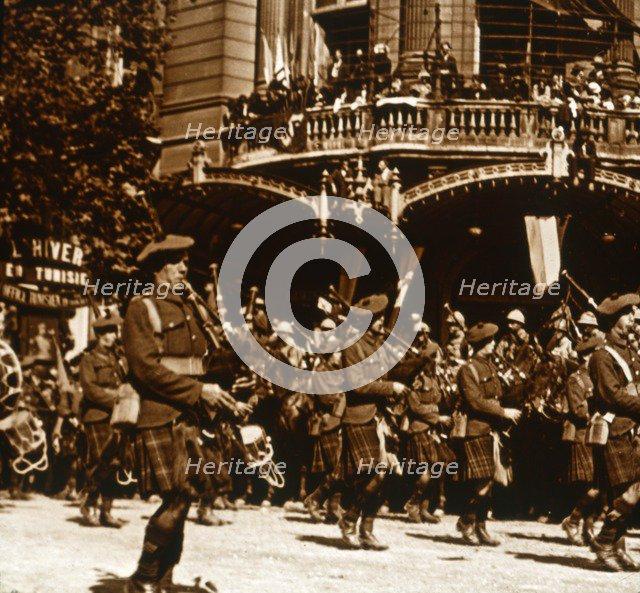 Scottish soldiers, 14 July 1919. Artist: Unknown.