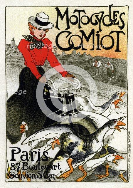 Motocycles Comiot (Advertising Poster), 1899. Artist: Steinlen, Théophile Alexandre (1859-1923)
