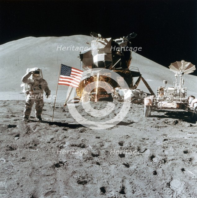Astronaut James Irwin (1930-1991) gives a salute on the Moon, 1971.Artist: NASA