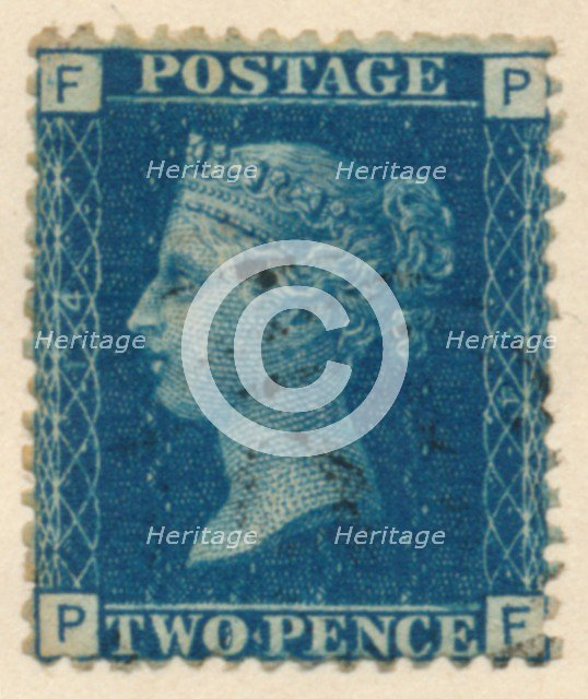 The Two Penny Blue or The Two Pence Blue postage stamp, 1840s. Artist: Unknown