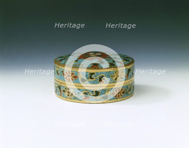 Cloisonne enamel covered box with lotus design, Ming dynasty, China, late 15th century. Artist: Unknown