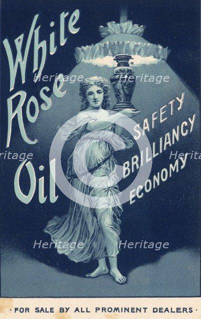 White Rose Lamp Oil,1890s. Artist: Unknown