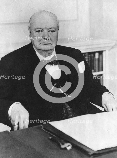 Sir Winston Churchill (1874-1965) celebrates his 80th birthday in 10 Downing Street, 1954. Artist: Unknown