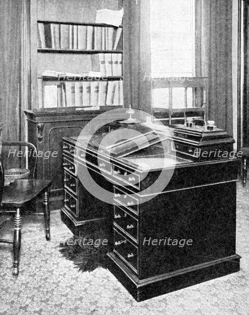 Chair & Desk of Charles Dickens, used at Gadshill, 1923.Artist: Rischgitz Collection