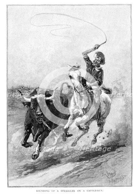 'Rounding Up A Straggler On A Cattle Run', Australia, 1886. Artist: Frank P Mahony