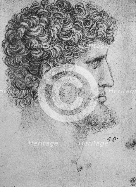'Profile to the Right of an Bearded Man', c1480 (1945). Artist: Leonardo da Vinci.