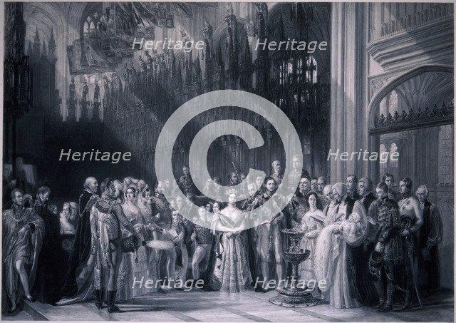 Christening of Edward VII, 1842. Artist: Anon