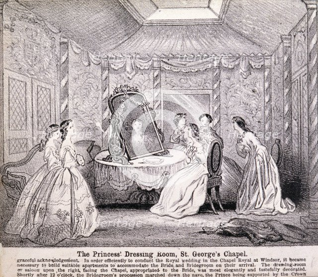 Princess Alexandra preparing for her wedding ceremony, 1863. Artist: Anon