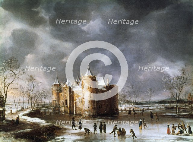 'The Castle of Muiden in Winter', 1658. Creator: Jan Abrahamsz Beerstraten.