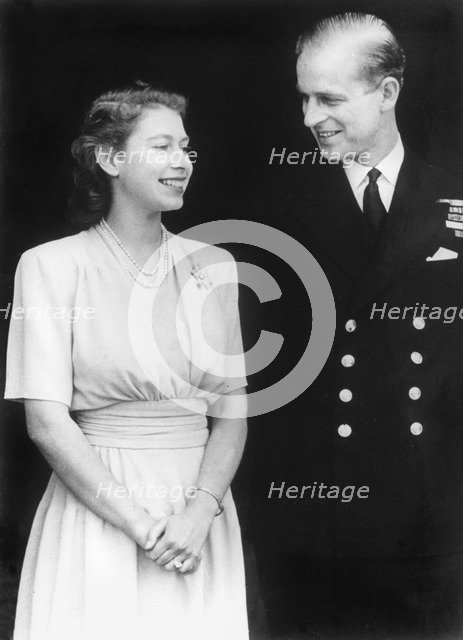 Princess Elizabeth and Prince Philip announce their engagement, 1947. Artist: Unknown