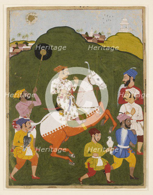 Equestrian portrait of Maharana Raj Singh I of Mewar, 1670. Artist: Unknown.
