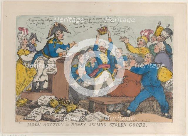 Mock Auction or Boney Selling Stolen Goods, December 25, 1813., December 25, 1813. Creator: Thomas Rowlandson.
