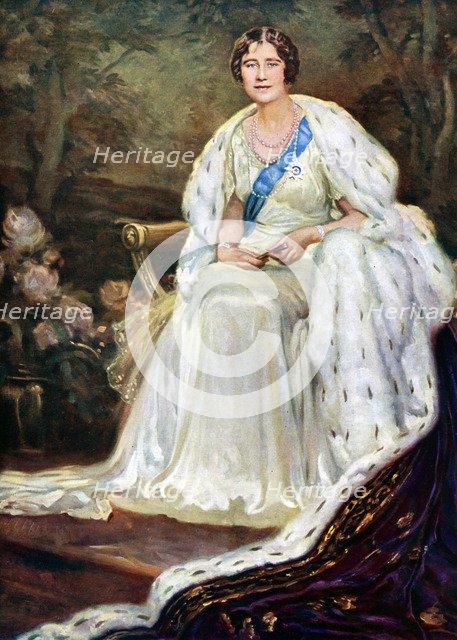 Queen Elizabeth in coronation robes, 1937. Artist: Unknown