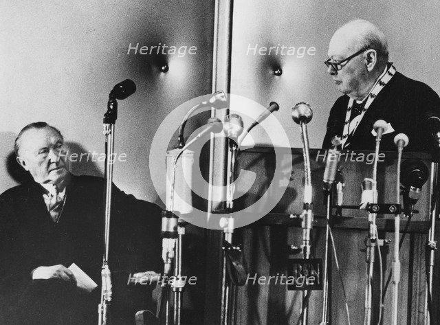 Sir Winston Churchill making a speech, Aachen, Germany, 1956. Artist: Unknown