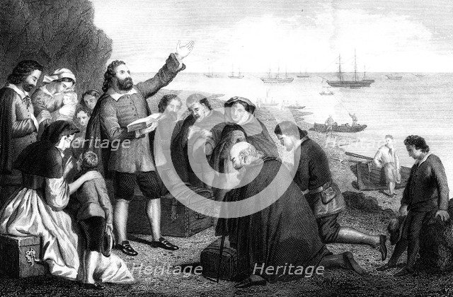 Embarkation of the Pilgrim Fathers, 1620. Artist: Unknown