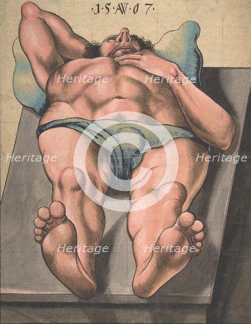 Male Nude Lying on a Table, 1567 (?). Creator: Monogrammist AW.