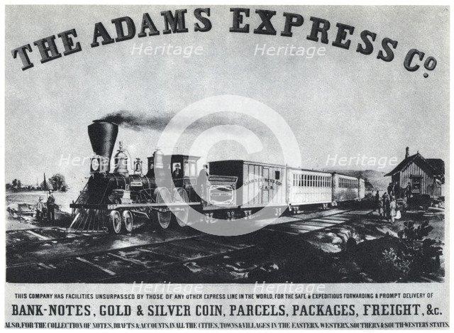 Adams Express Company advertisement, c1860s (1954). Artist: Unknown