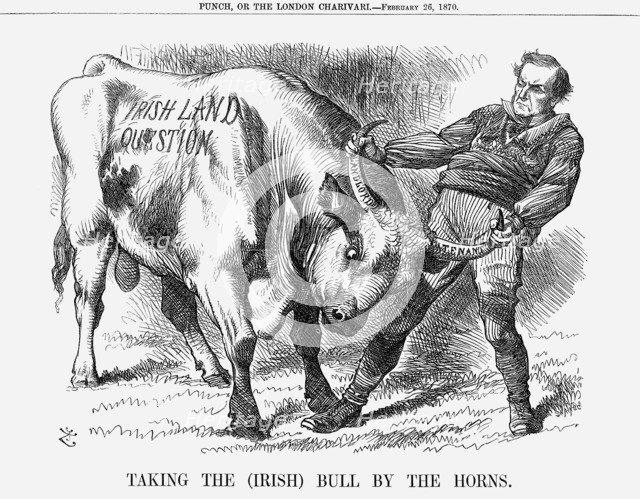'Taking the (Irish) Bull by the Horns', 1870. Artist: Joseph Swain