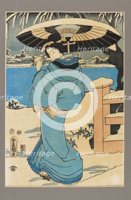 Ukiyo-e print - A woman holding a comb, c19th century. Artist: Kitagawa Utamaro.