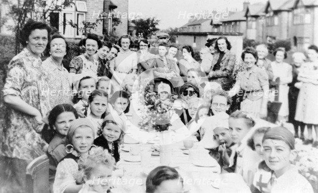 VE Day party, Park Avenue, Carlton, Nottingham, Nottinghamshire, May 1945. Artist: Unknown