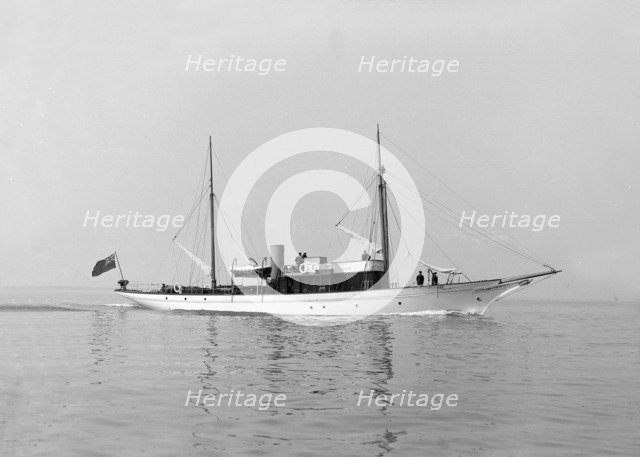 The motor yacht 'Atair' under way, 1914. Creator: Kirk & Sons of Cowes.