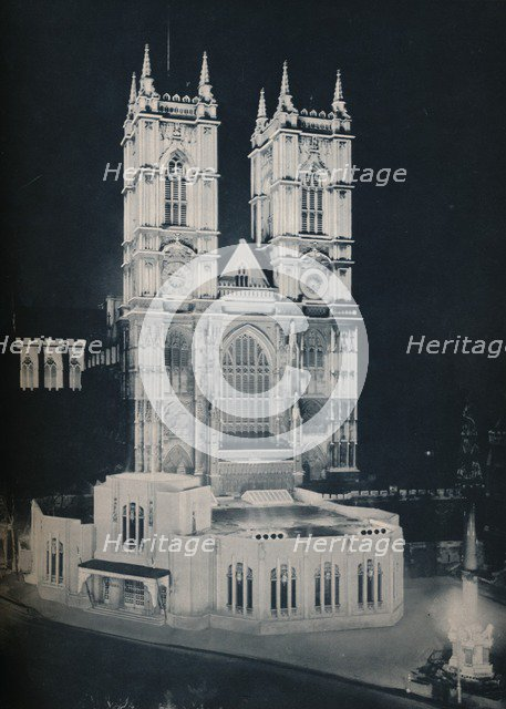 'The Abbey Church of St. Peter, Westminster; Showing the Temporary Annexe', 1937. Artist: Unknown.