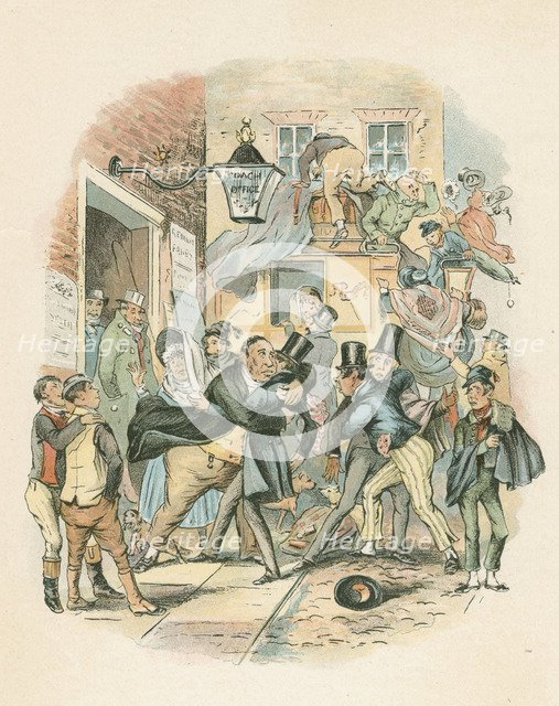 Scene from Nicholas Nickelby by Charles Dickens, 1838-1839. Artist: Hablot Knight Browne